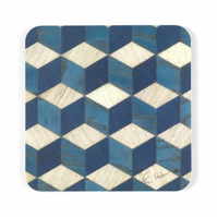 "coasters set of 4 or 6 retro geometric 10 cms or 4"" square. FREE UK SHIPPING"