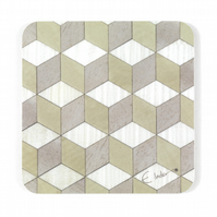 "Coasters Set of 4 or 6 geometric. Melamine  10cms or 4"" sq Free UK Postage"