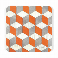 "4 square coasters set. Orange White and Grey.  Melamine 10 cms sq or 4"" square"