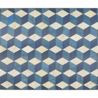 Large blue white geometric design serving mat heat resistant 160 Celsius