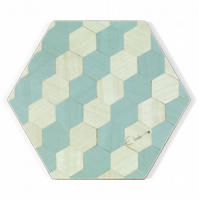 "Coasters set of 4 or 6 hexagonal. 10 cms or 4"" diameter FREE UK postage"