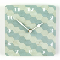 Duck egg blue wall clock 7 inch square or 18 cms square