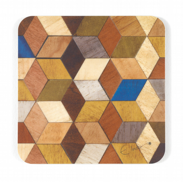 "coasters set of 4 or 6  midcentury modern. 10cms or 4"" square. FREE UK SHIPPING"