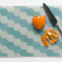 Recycled Glass Chopping Board Work top saver Duck egg blue