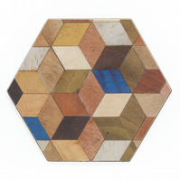 coasters hexagon set of 4 or 6 geometric design 115 x 110 x 3.2mm FREE UK POST