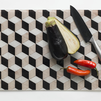 Glass chopping board geometric design in black white and stone