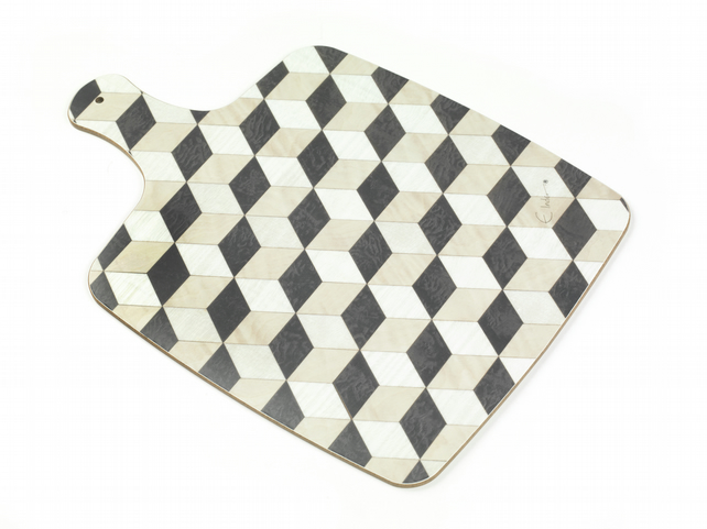 Chopping Board melamine Paddle shape Black White Beige