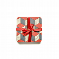 "coasters set of 4. Retro geometric melamine 10 cms or 4 ""square Free UK Postage"