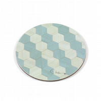 4 or 6 round coasters in duck egg blue Melamine 100mm diameter x 3.2mm thick