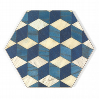 Coasters Set of 4 or 6 hexagonal Melamine Retro Design FREE UK postage