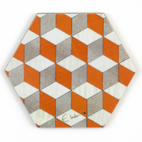 "coasters set of 4 or 6 square or Hexagon 10 cms or 4"" sq. Free UK postage"