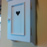 Solid pine painted love heart design wall cupboard