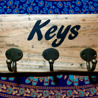 Wood Mounted Key Holder - Handmade