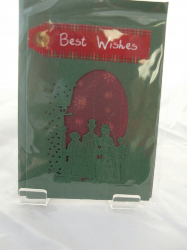 Best Wishes Carol Singers under the Street Lamp Card