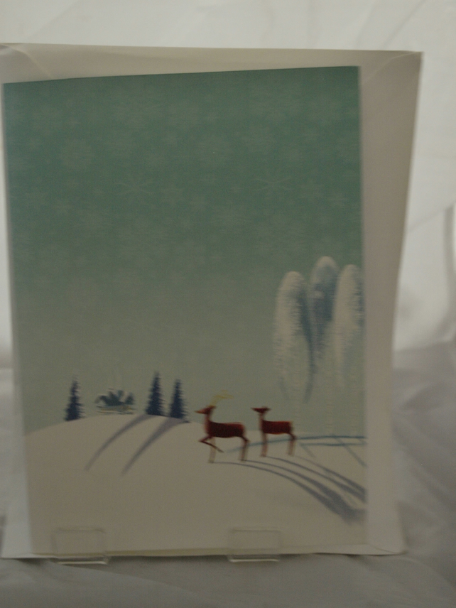 Two Stags in the Snow Christmas Card