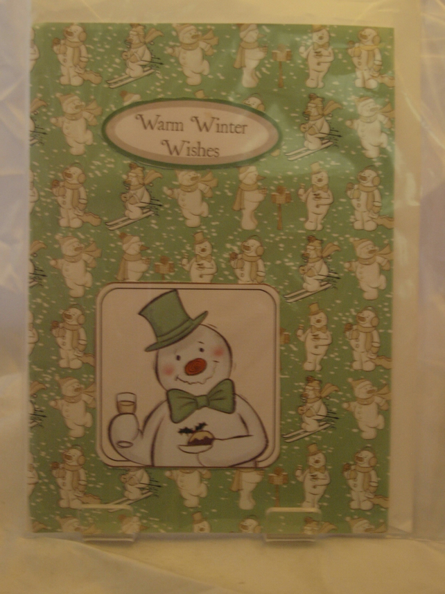 Warm Winter Wishes Snowman Christmas Card
