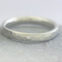Recycled, 9ct white gold wedding band, hammered, 2 mm wide,ethical jewellery.