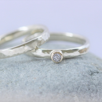Wedding and engagement ring set in recycled silver and 9ct gold, 2mm wide.