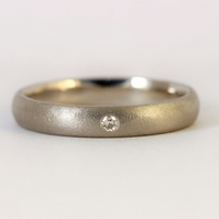 Recycled palladium and diamond wedding, or engagement ring, 4mm wide,ethical