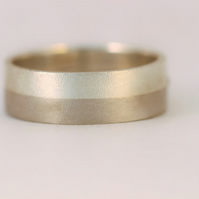 Two Shades of grey, 5mm wide palldium and sterling silver wedding ring.