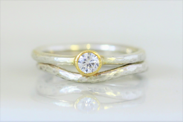 Matching wedding and engagement ring set in white gold, yellow and 4mm diamond.