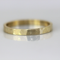 Yellow gold planished 9ct band , recycled gold or ecogold.