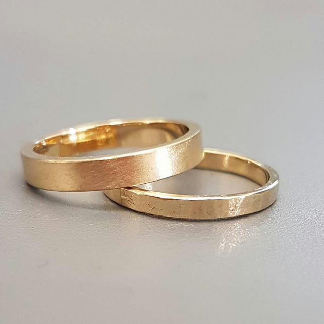 Wedding ring set, 3mm and 2mm flat 9ct yellow gold wedding rings.