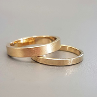 Wedding ring set, recycled 9ct yellow gold, 2 mm and 3 mm,flat profile,ethical