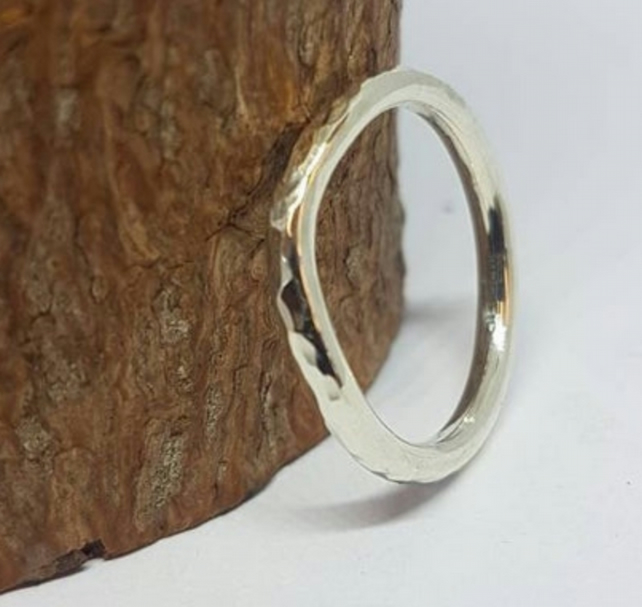 Recycled, 9ct white gold curved wedding ring, hammered, 2mm wide.