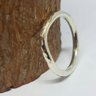 9ct white gold curved wedding ring, hammered.