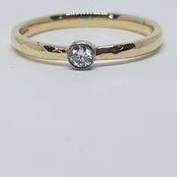 Recycled, 9 ct yellow gold engagement ring with diamond,2 mm wide,ethical choice