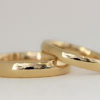Wedding ring set in 9ct yellow gold, ethical jewellery.