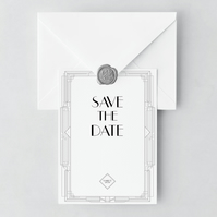 1920's Save the Date and Envelope Sample