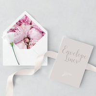 Peonies Wedding Envelope and Liner Sample