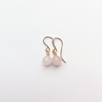 Rose Quartz Hatha Earrings - Yoga Gift, January Birth Stone