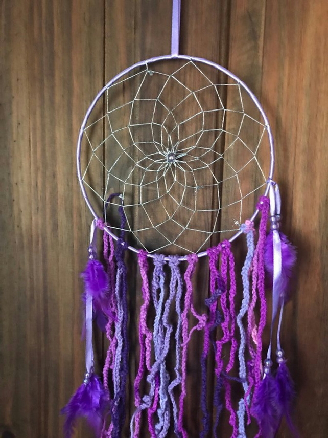 Purple Dreamcatcher, Silver Net, Purple Beads and Feathers, Sweet Dreams