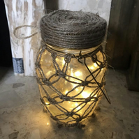 Hanging Macrame Firefly Jam Jar LED Light Battery Operated, Natural Jute Thread