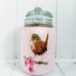 Song thrush jar on pink cherry blossom