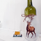 Stag decorative green glass bottle