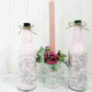 Decorative pink and grey rose glass bottles