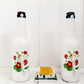 Pair of Botanical Red Flowers Decorative Glass Bottles