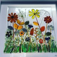 Fused glass meadows picture -large 40m square