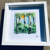 Fused glass silver birch scene
