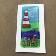 Smeatons tower fused glass wall hanging