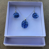 Fused glass and Stirling silver earings and necklace (SALE)