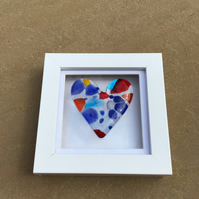 Fused glass cast glass heart in a box frame