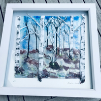 Fused glass silver birches in winter picture