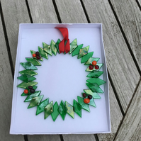 Fused glass wreath with  red berries