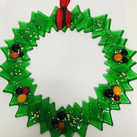 Large fused glass wreath
