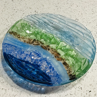 Fused glass tactile fused glass bowl